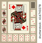 playing cards of diamonds suit... | Shutterstock .eps vector #616743278