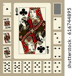 Playing Cards Of Clubs Suit In...