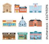set of buildings. bank ... | Shutterstock .eps vector #616745096