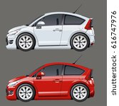 vector cartoon cars set.... | Shutterstock .eps vector #616747976