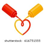 ketchup and mustard squeeze... | Shutterstock .eps vector #616751555