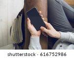 man with smartphone   Shutterstock . vector #616752986