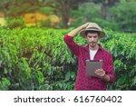 farmer concerned using digital... | Shutterstock . vector #616760402