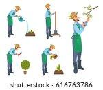 happy cartoon bearded man... | Shutterstock .eps vector #616763786