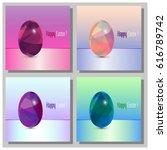 happy easter cards set  ... | Shutterstock .eps vector #616789742