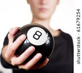 Woman Holding Black 8 Ball