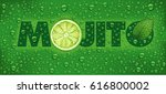mojito name with lime slice ... | Shutterstock .eps vector #616800002