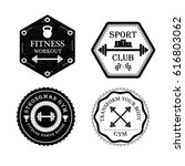 set of gym and fitness logo in... | Shutterstock .eps vector #616803062