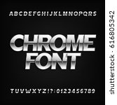 chrome alphabet font. metallic... | Shutterstock .eps vector #616805342