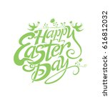 happy easter day. flat template ... | Shutterstock .eps vector #616812032