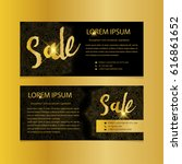 golden banners. gold text. gift ... | Shutterstock .eps vector #616861652