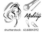makeup artist business card.... | Shutterstock .eps vector #616884392