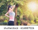 running sport injury . female... | Shutterstock . vector #616887026