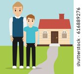 father and son together with... | Shutterstock .eps vector #616889276