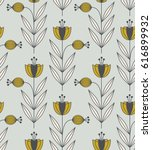 seamless retro pattern with... | Shutterstock .eps vector #616899932