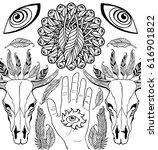 hand drawn animal skulls   page ...   Shutterstock .eps vector #616901822
