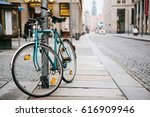 the bike parked next to the... | Shutterstock . vector #616909946