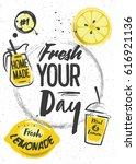 homemade lemonade with graphic... | Shutterstock .eps vector #616921136