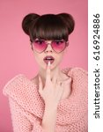 Stock photo beauty wow fashion surprise teen girl model brunette in heart sunglasses with matte lips and 616924886