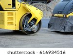 closeup view on the road roller ... | Shutterstock . vector #616934516