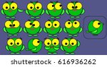 set of cheerful painted green... | Shutterstock .eps vector #616936262