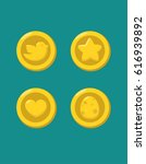 a set of gold coins with the... | Shutterstock .eps vector #616939892