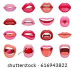 set of sixsteen womans lips   Shutterstock .eps vector #616943822