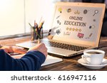 Small photo of Online Education Concept With Various Hand Drawn Doodle Icons On Laptop Monitor
