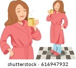 a woman wearing pajamas and... | Shutterstock .eps vector #616947932