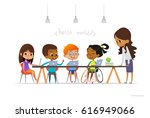 disabled girl in wheelchair and ... | Shutterstock . vector #616949066