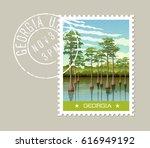 georgia postage stamp design.... | Shutterstock .eps vector #616949192