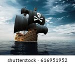 Pirate Ship On The High Seas....