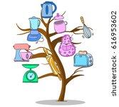 kitchen set tree style design | Shutterstock .eps vector #616953602