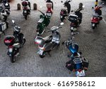 motorcycles parking in berlin | Shutterstock . vector #616958612