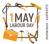1 may labour day poster or... | Shutterstock .eps vector #616965572
