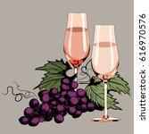 glasses with vine. grapes... | Shutterstock .eps vector #616970576