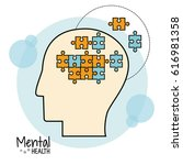 Stock vector mental health brain puzzle image 616981358