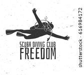 scuba diving club. vector... | Shutterstock .eps vector #616984172
