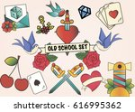 old school tattoos set | Shutterstock .eps vector #616995362