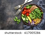 lunch bowl with vegetables... | Shutterstock . vector #617005286