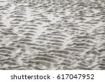 Small photo of Part of intertidal zone with pattern of ridges, like a washboard, in sand of beach on barrier island, for backgrounds with motifs of natural cycles, transience and transformation