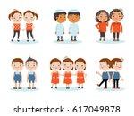 cute little smiling boys twin... | Shutterstock .eps vector #617049878