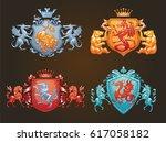 vector set of various heraldic... | Shutterstock .eps vector #617058182