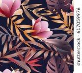 tropical flowers  jungle leaves.... | Shutterstock .eps vector #617059976