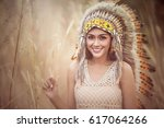 indian woman smile. | Shutterstock . vector #617064266