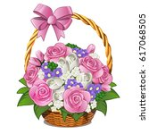 Wicker Basket With Pink Ribbon...