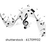 vector musical notes staff... | Shutterstock .eps vector #61709932