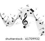 vector musical notes staff... | Shutterstock .eps vector #61709932