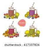 set of smoothies. detox water... | Shutterstock .eps vector #617107826