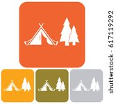 stylized icon of tourist tent.... | Shutterstock .eps vector #617119292